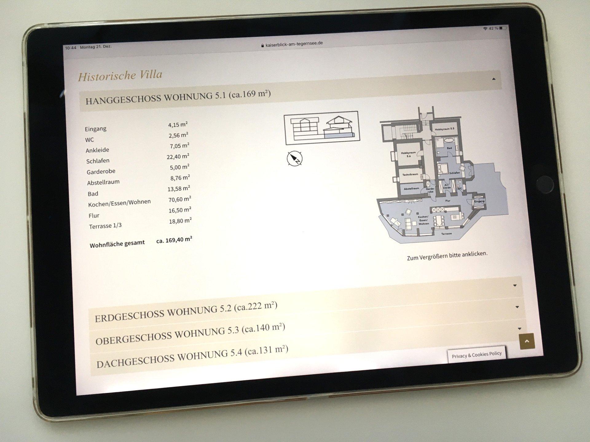 Kaiserblick tablet Wohnungen